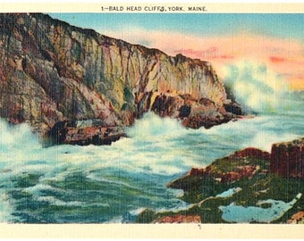 Vintage Maine Postcard - Surf at Bald Head Cliff, York (Unused)