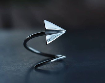 ORIGAMI - paper plane ring - sterling silver - Made in Italy - calcagnini jewelry