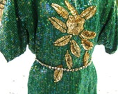 PLUS SIZE JADE Spring Green Sequined Dress Set, Silk beaded dress set, silk blouse and silk skirt, sequined blouse set