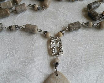 Oh the Stories I Could Tell            Coral Fossil Necklace