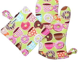 Coffee & Donuts Oven Mitt and Potholder Set