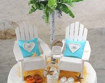 5 Inch Cake Top.Make It Your Own OOAK Beach Wedding Cake Topper Custom Colors  Handmade To Order With Adirondack Chairs And More