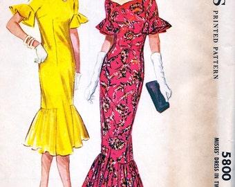 UNCUT * Vintage  McCalls Pattern 5800 -  FABULOUS Misses'  Cocktail Evening Length  Dress  *  Size 14..bust 34 * RARE