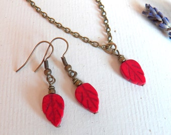 Vintage Style Leaf Necklace Set, Earrings and Necklace, Matching Set, Red Leaves, Antique Brass Chain, Handmade Jewelry by HoneyNest