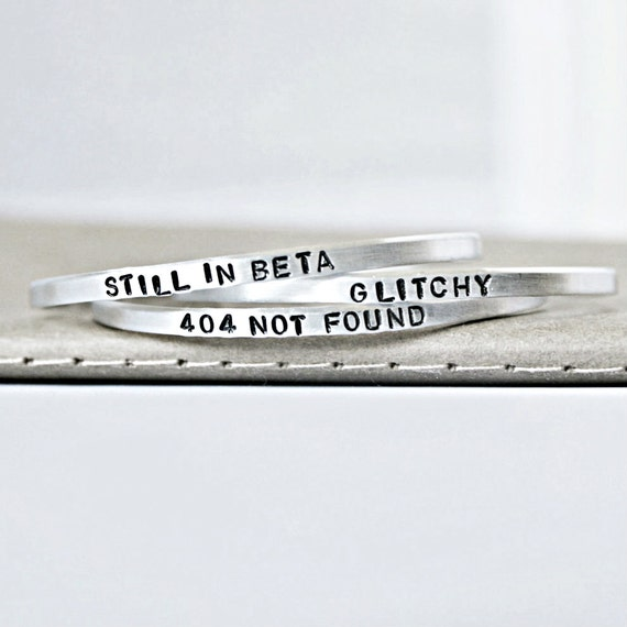Geek Gift, Adjustable bracelet set, aluminum, narrow cuff, mens, funny jewelry, tech gift, computer,coder, beta, glitch, 404,bitter bands
