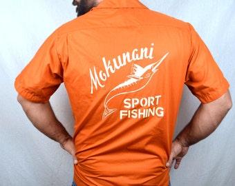 Vintage Orange Thin Summer Button Up Orange Bowling Shirt