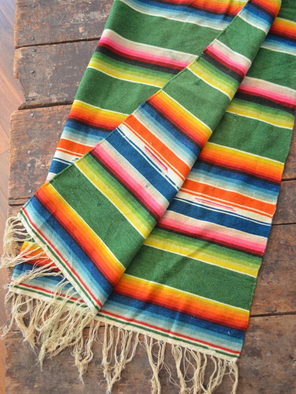Vintage Mexican Serape Saltillo Blanket Handwoven