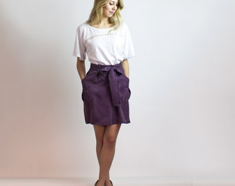 RuLa Plum Mock Wrap skirt - Tencel / Silky adjustable spring skirt / Eco friendly fashion