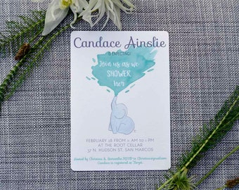 Printable Custom Elephant Baby Shower Invitation
