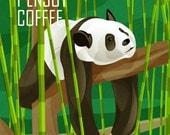 Panda Enjoys Coffee