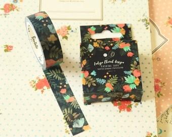 Indigo Floral cartoon washi masking tape