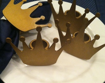 Gold Crown Napkin Rings - Set of 4 - Birthday, Shower, Hostess Gift
