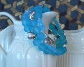 Beach bracelet, seashell charms, blue glass bracelet, sealife bracelet, aqua bracelet, glass bracelet, boho bracelet, gift for women