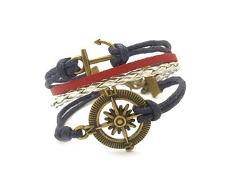 Compass and Anchor Cord Bracelet, Best Friend Gift, Handmade Bracelet, Cord Bracelet, Nautical Bracelet, Gift Ideas