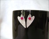 Silver Heart Earrings, Hammered Hearts, Ruby Agate, Silver Filled, Artisan Earrings, Brushed Silver, Valentines Gift,
