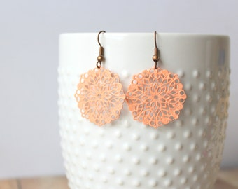 F L O R E T - Coral Peach Round Lace Flower, Hand Painted Filigree, Antique Bronze Dangle Earrings