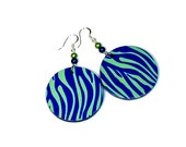 Tiger Zebra Striped Seahawks Earrings in Blue and Green, Gifts for Seahawks Fans