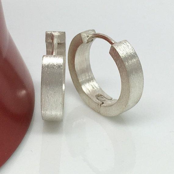 Men's hoop earrings, achromatic straight edge hoop earrings for men, large hoop earrings, white gold hoops, gold hoop earrings, E190MW