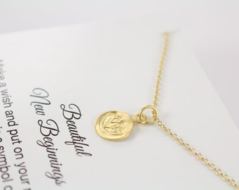 Lotus Necklace Gold Lotus Necklace, Encouragement Jewelry and Personalized Card