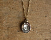 ES FUI 10K plain gold skull pendant ∙ Victorian Memento Mori custom pendant ∙ Latin epitaph Es, Fui; Sum, Eris