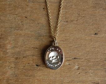ES FUI 14K plain gold skull pendant ∙ Victorian Memento Mori custom pendant ∙ Latin epitaph Es, Fui; Sum, Eris