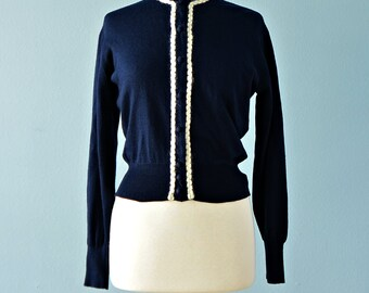 Vintage 1950s Sweater...JANTZEN Navy Blue Wool Sweater Cardigan with Ivory Mohair Trim
