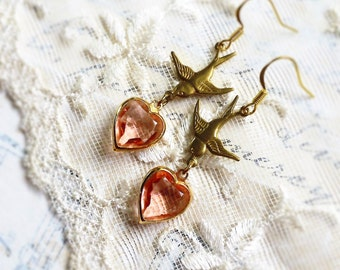 Love to Fly, Vintage Pink Glass Heart with Gold Frame and Brass Sparrow Upcycled Earrings from Hollywood Hillbilly