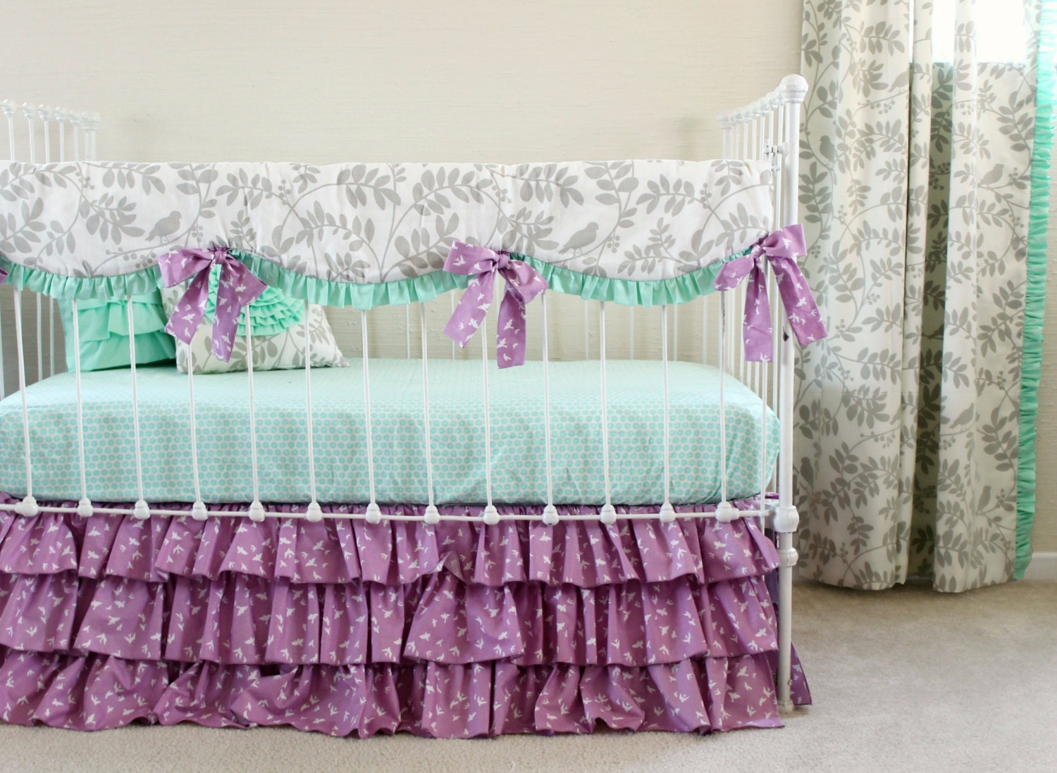 purple crib bedding mint and purple baby girl by lottiedababy. Black Bedroom Furniture Sets. Home Design Ideas