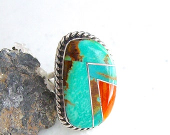 Turquoise Spiny Oyster Ring Sterling Silver Statement Ring
