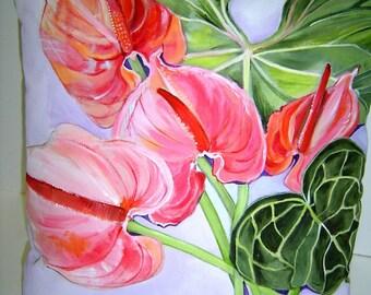 Anthurium Lunette 14x14 Pillow Hand Painted Heart Shaped Pink with Dark Green Leaves Fabulous Summer Flower Florida Room Original Art