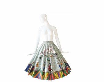 1950s Mexican Skirt • Signed 50s Full Circle Skirt • XS S