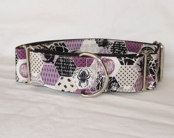 SALE Purple Halloween Martingale Dog Collar - 1.5 or 2 Inch - white black fun fall autumn witch bat ghost spooky words cat