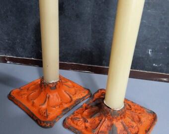 Set of 2 Antique Cast Iron Orange Candleholders, Floral Design, Rustic, Industrial, Fall, Halloween, Autumn Vintage Decor