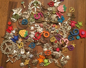 100 Mixed Charms Lot Colored, Silver, Bronze: peace signs, owls, hearts, crosses, arrows & more
