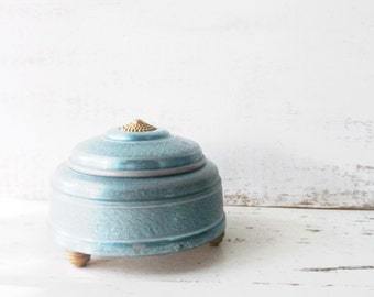 Vanity Dresser Powder Music Box. Antique collectible. Art Deco Tin. Shabby Teal BLue Jewelry Box. Pedestal. Wind up Music Box