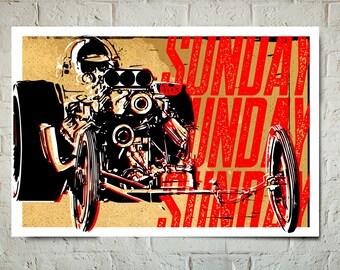 Car Art - Pop Art Drag Race Poster - Auto Art, Automobile Art, Automotive Decor, Man Cave Art, Car Gift, Art Print, Race Car, Garage Art