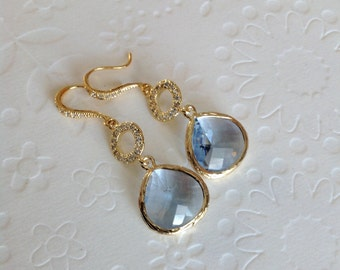 Blue Dangle Earrings, Blue Bridesmaid Earrings, Blue gold earrings, Dangle earrings blue, Earring for mom,bridesmaids gift, wedding earrings