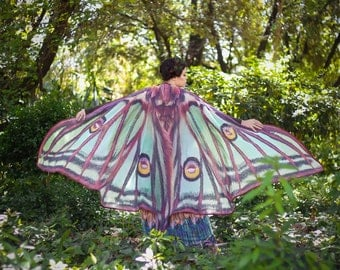 Luna moth cape dance wings costume adult Spanish luna moth cape chiffon belly  halloween burning man