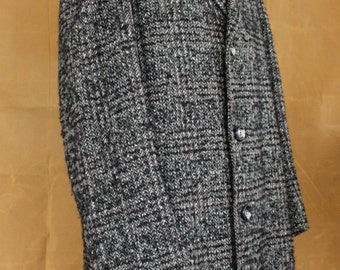 Vintage 1960s Mens Long Tweed Coat Jacket Size Medium