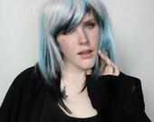 Short Silver wig | Straight Blue Black Scene Emo wig | Medium Silver Grey Gray Black Blue wig | Arctic Winds