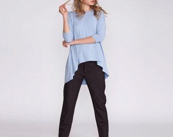 Women's top, light blue women shirt, asymmetrical oversized tunic, loose fit, plus size tunic, Oversized Dolman shirt