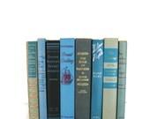 Blue Black Tan Vintage Books, Old Books, Home Decor, Book Sets, V Wedding Decor, Book Lover Gift, Photo Props, Book Stack, Book Collection