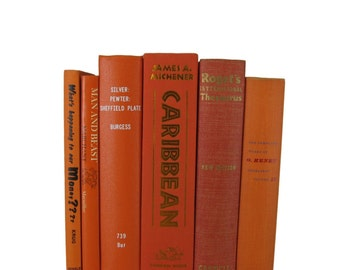 Orange Decorative Books, Vintage Wedding Decor, Photo Prop, Staging Prop, Vintage books, Book Decor, Home decor, Old Books, Interior Design