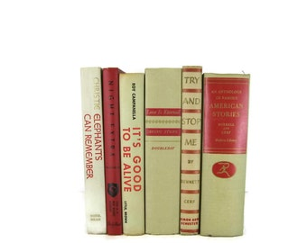 Red Tan Books , Set of Books , Shabby Chic Wedding Decor , Decorative Books Home Decor , Vintage Books Instant Library , Photo Prop