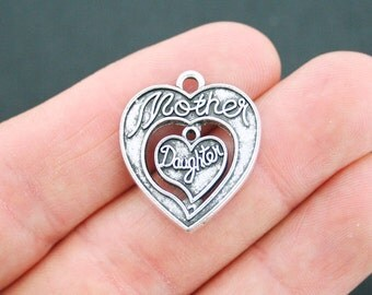 8 Mother Daughter Hearts Charms Antique Silver Tone - SC2654