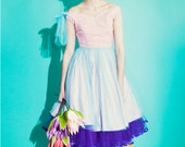1950's Pastel Satin & Tulle Prom Dress, lace bodice, gathered skirt, straps, pink, aqua, 50's, party, vegas, miami