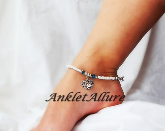 Heart of My Heart Anklet Bridal Jewelry Silver Ankle Bracelet Aqua Blue Crystal Ankle Bracelet Garter Ceremony