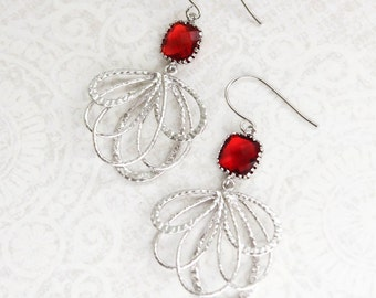 Red Dangle Earrings Ruby Red Glass Earrings Holiday Jewelry Silver Floral Filigree Earring Nickel Free Christmas Gift for Her Womens Gift