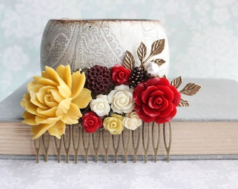 Bridal Hair Comb Golden Mustard Yellow Rose Deep Red Wedding Hair Accessories Floral Collage Comb Ivory Cream Rose Branch Pine Cone Pearls