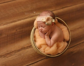 Newborn Photo Prop, Newborn Headband, Newborn Tieback, Newborn Flower Crown, Newborn Halo, Organic Photography Props, Cream, Pastel, Spring